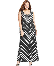 Alfani Plus Size Sleeveless Striped Maxi Dress