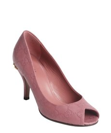Gucci vintage rose guccissima leather peep toe horsebit detail pumps