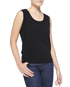Escada Sleeveless Cashmere Top, Black