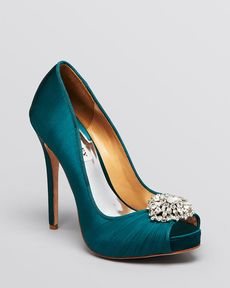 Badgley Mischka Peep Toe Evening Pumps - Pettal High Heel