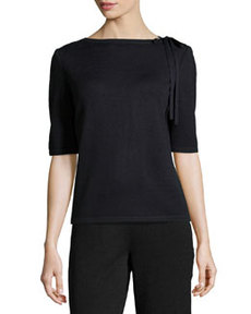 St. John Tie-Neck Knit Sweater, Onyx