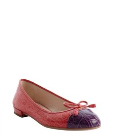 Prada red and purple croc embossed cap toe ballet flats