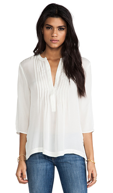 Michael Stars Belle 3/4 Sleeve Pintucked Split Neck Blouse in Ivory