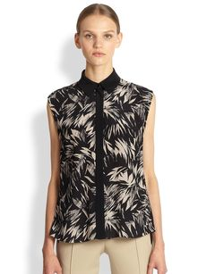 Jason Wu Botanical Crinkle Silk Top