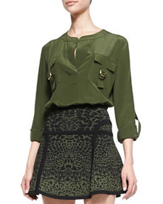 Danielle Flap Pocket Chest Blouse, Olive Green Nite   Danielle Flap Pocket Chest Blouse, Olive Green Nite