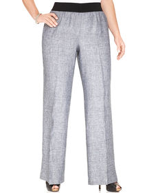Alfani Plus Size Linen Wide-Leg Pants
