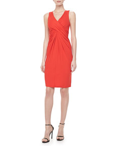 Michael Kors Sleeveless Wool-Crepe Dress, Coral