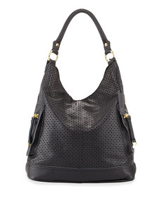 Linea Pelle Dylan Perforated Leather Hobo Bag, Black