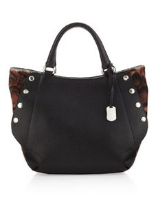 Furla Royal Medium Leopard-Print Side-Snap Tote, Black