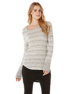 long sleeve grey two-tone stripe tee