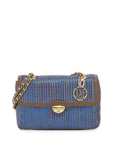 Moschino Borsa Woven Metallic PVC Crossbody Bag, Blue/Taupe