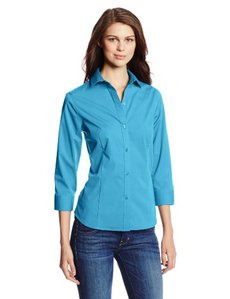 Jones New York Women's Solid Three-Quarter Sleeve Button-Front Shirt