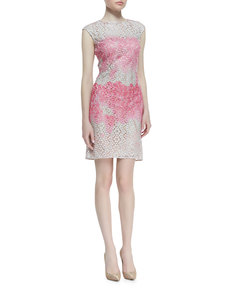Kay Unger New York Cap-Sleeve Ombre Floral Dress, Pink/White