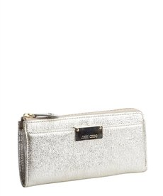Jimmy Choo platinum leather and gold trimmed continental wallet