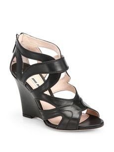 Miu Miu Nappa Leather Cutout Wedge Sandals