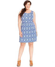 Charter Club Plus Size Sleeveless Printed A-Line Dress