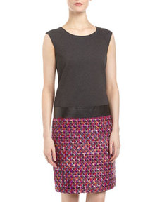 Lafayette 148 New York Shenae Boucle-Skirt Dress, Spectrum/Gray