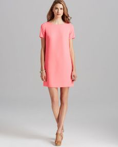 Shoshanna Dress - Short Sleeve Crepe Open Back Shift