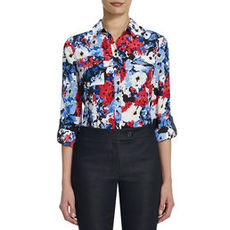 Floral Safari Blouse with Roll Sleeves (Petite)