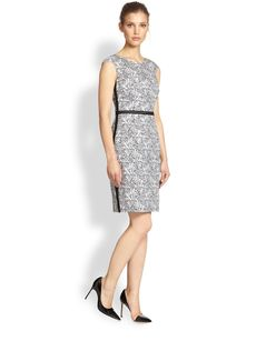 Kay Unger Jacquard Cap-Sleeve Dress