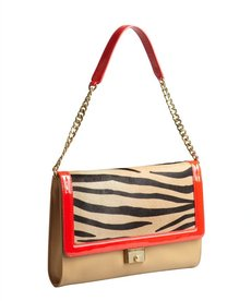 Jimmy Choo beige leather and red patent trim calf hair 'Cassie' clutch