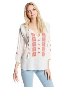 Joie Women's Millian Crepe Embroidered Split Neck 3/4 Sleeve Blouse
