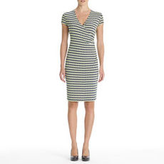 Stretch Faux Wrap Dress with Cap Sleeves