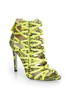 Jason Wu Snake-Print Leather Strappy Sandals