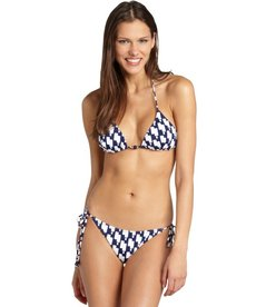 Shoshanna navy and white triangle beaded 'Buoy' string bikini bottom