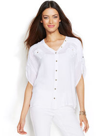 Alfani Short-Sleeve Button-Back Top