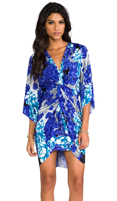 T-Bags LosAngeles Long Sleeve Knot Dress in Blue