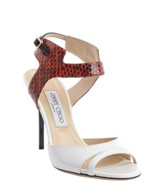 Jimmy Choo white patent leather embossed detail buckle strap sandals