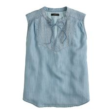 Embroidered tassel top in chambray