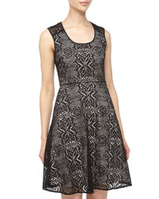 Marc New York by Andrew Marc Scalloped Lace Fit-And-Flare Dress, Black