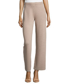 St. John Stove-Cut Santana-Knit Pants, Bisque