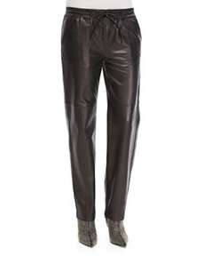 Chapman Leather Drawstring-Waist Trousers   Chapman Leather Drawstring-Waist Trousers