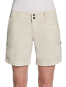 Saks Fifth Avenue BLUE Cuffed Poplin Roll-Tab Shorts