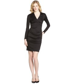 Nicole Miller black ponte v-neck stretch long sleeve dress