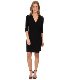 Calvin Klein Matte Jersey Solid Wrap Dress