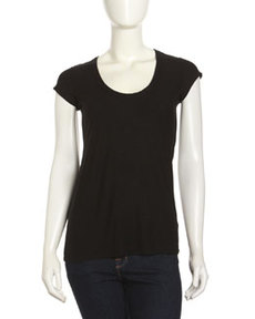 James Perse Cap-Sleeve Scoop-Neck Tee, Black