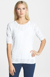 Lafayette 148 New York Textured Elbow Sleeve Sweater