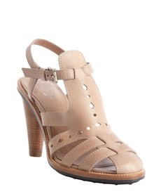 Tod's toffee strappy leather perforated heel sandals