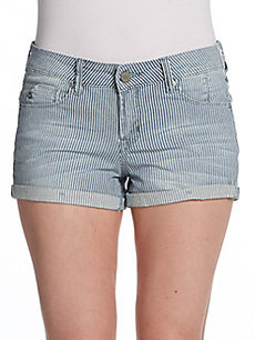 Saks Fifth Avenue GRAY Railroad Striped Jean Shorts