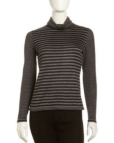 Lafayette 148 New York Gondola Mixed-Stripe Turtleneck, Black/Gray