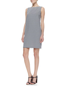 Lafayette 148 New York Sleeveless Striped Dress with Fashion Pockets