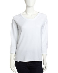 James Perse Raw-Edge Terry Pullover, White