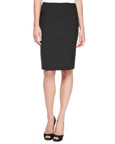 Escada Pencil Skirt with Slit, Black