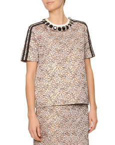 Marni Jewel-Neck Jacquard Top