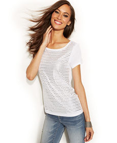 INC International Concepts Studded-Front Short-Sleeve Top