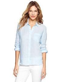 Fitted boyfriend linen shirt